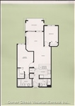 Floor Layout, Two Bedroom, Two Bath, Deck, Bathtub, Double Shower, Washer Dryer,