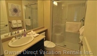 Main Bath, with Large Roomy Shower,