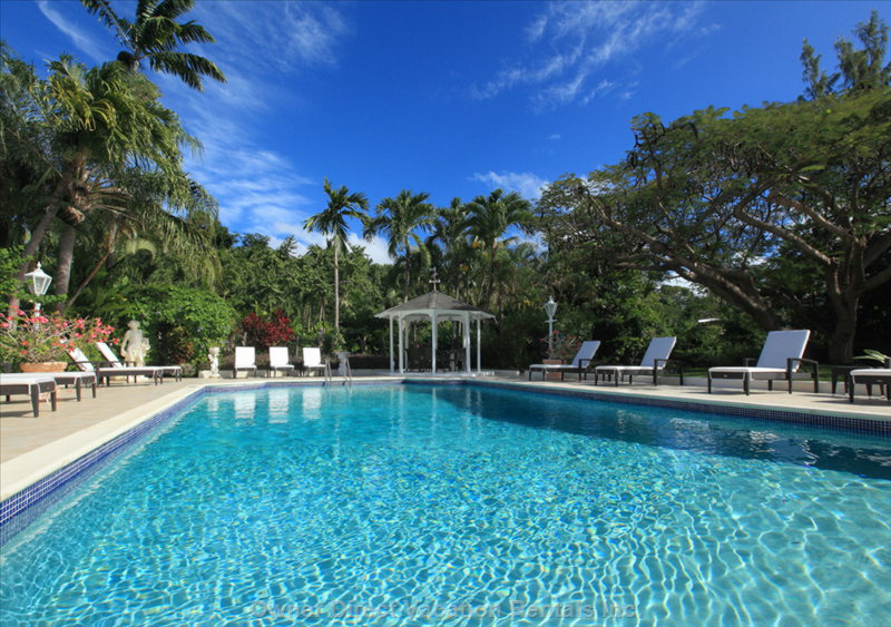 Large Pool at Vistamar has Sun Loungers and a Gazebo, Surrounded by Tropical Gardens