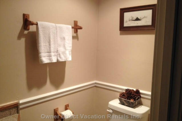 Pine Cones and Snow Scenes Decorate the Upstairs 1/2 Bathroom.