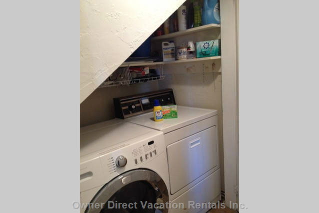 Full Size Washer and Dryer Laudry Nook Available for your Use.
