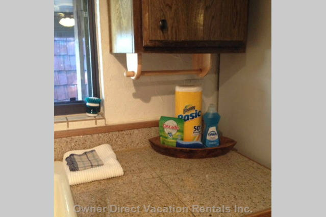 Little Extras Include Dishwasher Detergent, Paper Towels, Dish Soap and Sponge.