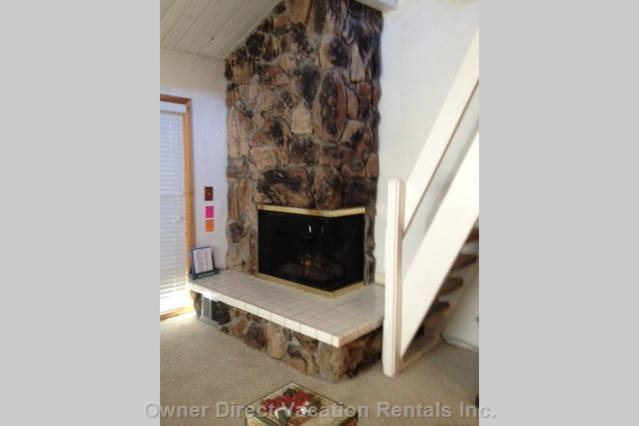 Stone Fireplace in Living Room.