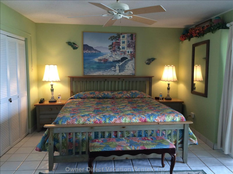 "Oceanside Bedroom with Doors Opening to the Gallery which Opens to Beach and the Caribbean Sea. 32"" Lcd Flat Screen Tv."