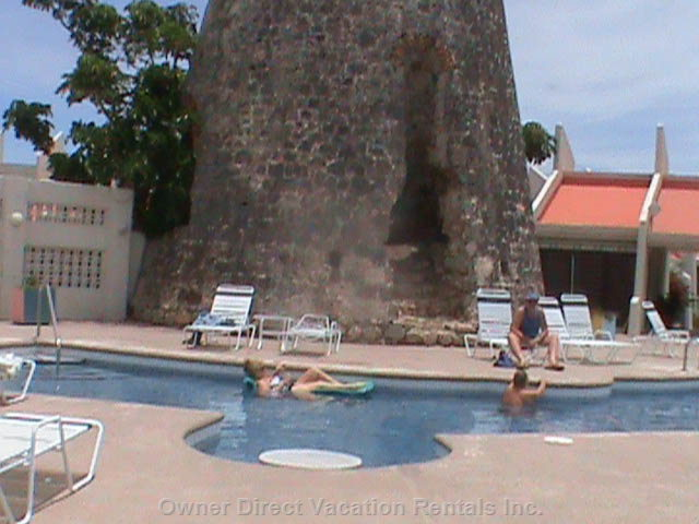 The Poolside has an Old Sugar Mill in it!