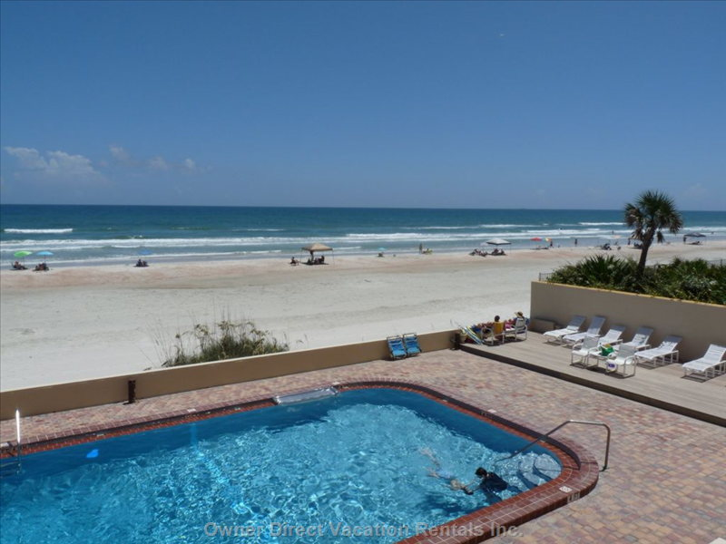 Southward View of Beach-Side Pool & Ocean from Large Private Oceanfront Balcony