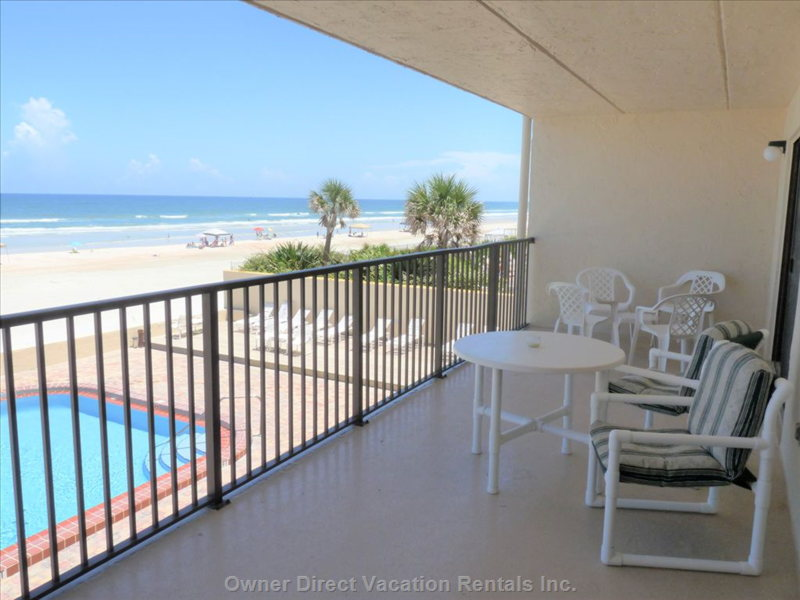 Large Private Oceanfront Balcony with Beach-Side Pool below