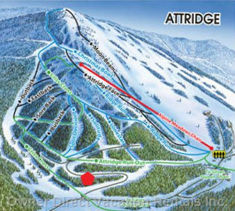 Location of Snow Dreams Chalet on the Attridge Inset of Trail Map