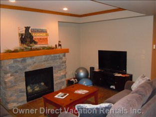 Lower Level Living Area - Fireplace, TV with Blueray Player and Satellite, Exercise Equipment