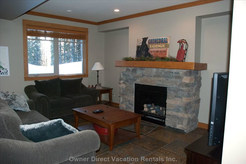 Lower Level Living Area - Two Sofas (one Pullout Queen Bed), Fireplace