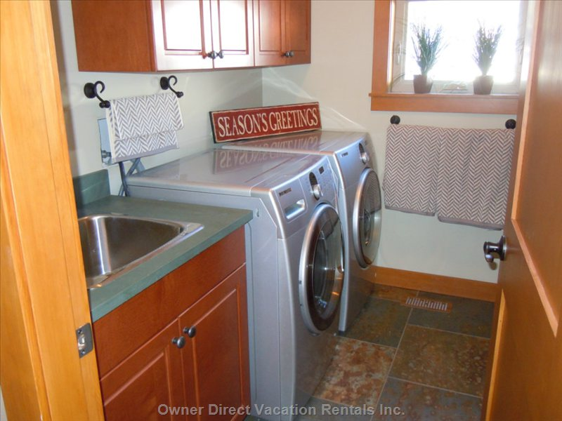 Laundry Room - Washer, Dryer, Ironing Equipment and Sink