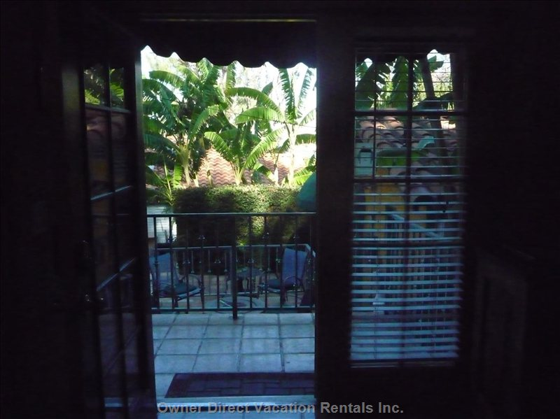 Sliding Glass Door View of Private Backyard