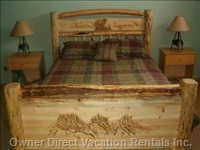 Log Bed in Master Bedroom (Queen Size).