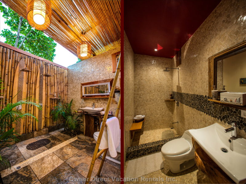 Spacious his & hers Indoor/Outdoor Shower, Romantic and Roomy & the Pebble Coated Guest Bathroom