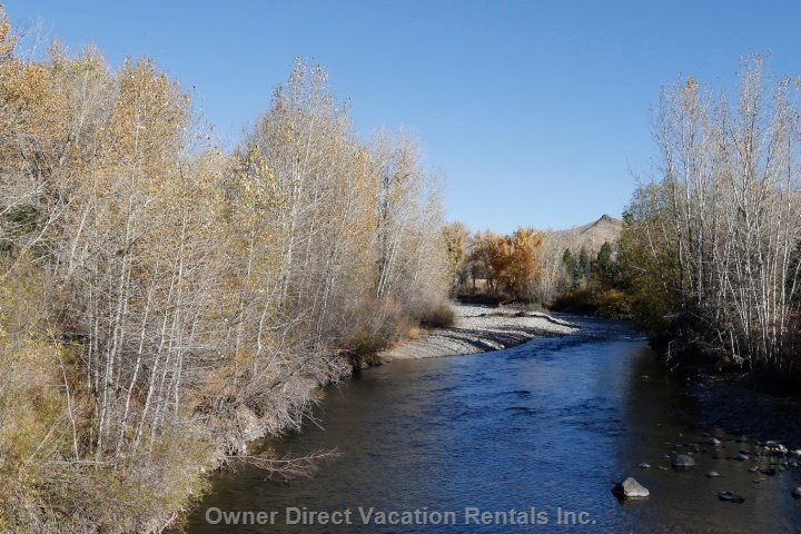 One of many Gorgeous Views of the Big Wood River from Miles of Riverside Wooded Trails, Access Here in Minutes on Foot Or Bike