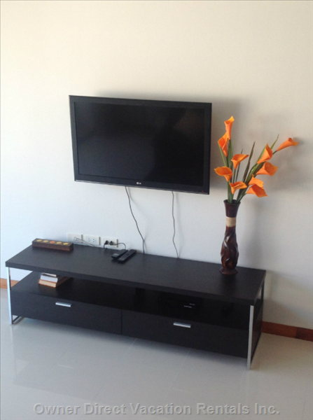 "42"" Wall Mounted Lcd Tv, Satellite Tv, Dvd Player"