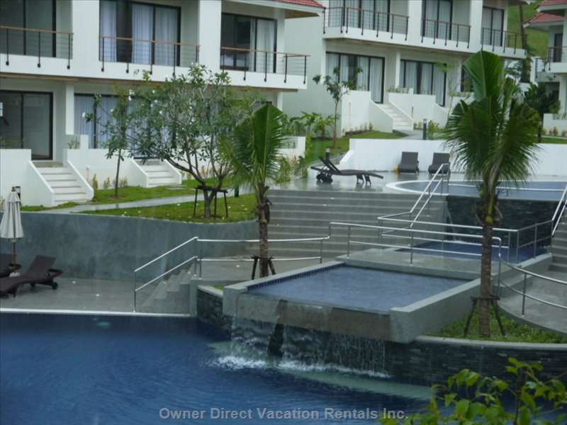 2 Tiered Swimming Pool, Top Pool is Child Friendly, this Cascades down into a Canal that Then Waterfalls into the Deeper Pool