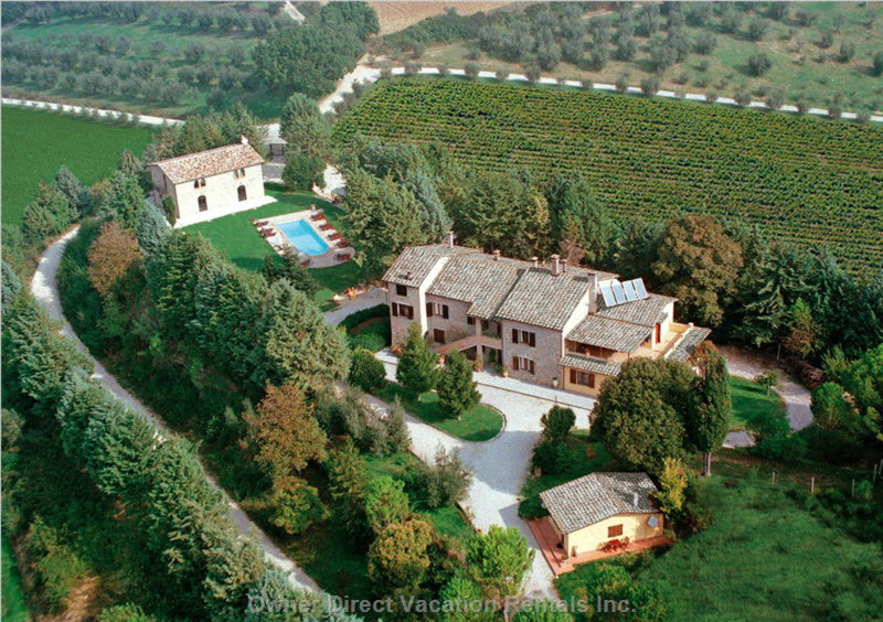 Picture of Oart of the Property from the Helicopter, the Chalet is the Right Side of the Main Building, and has Private Gardens.