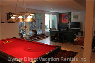 "Rec Room with Billiard Table , 42"" TV, Fireplace"