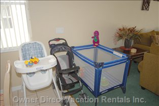 Cot, Highchair and Stroller