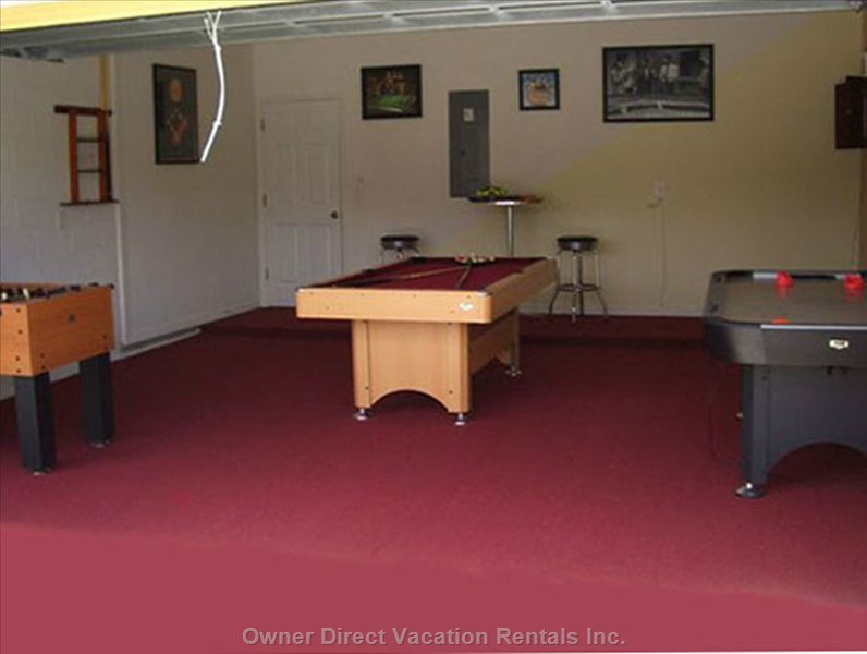 Games Room with Pool, Air Hockey, Foosball,  & Darts