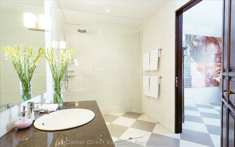 Spacious En-Suite Bathroom at he Back of the down Stairs Bedroom