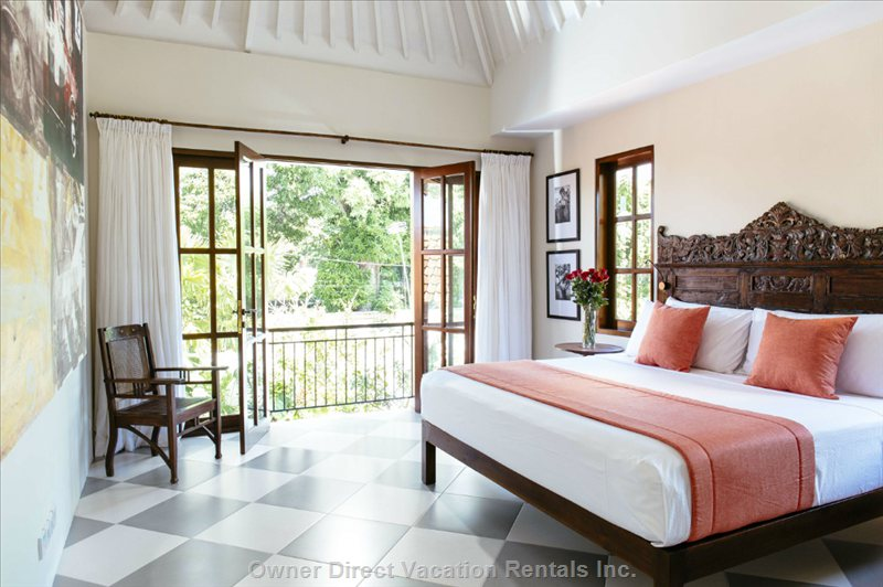 Upstairs Master Bedroom has Views of Pool and Surrounding Area