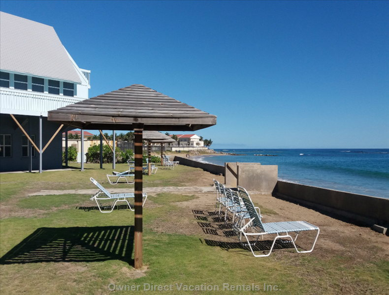 Sunbathing and Relaxing Area at Sealoft's Ocean Front Just a few Steps Away from Villa