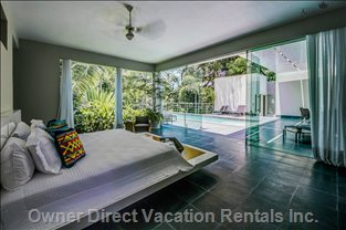 Master bedroom walks out to pool terrace