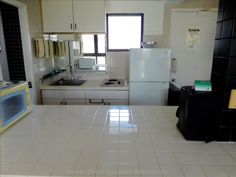 Kitchen has a Full-Size Refrigerator, Two Burner Cook Top, and all of the Normal Small Appliances.