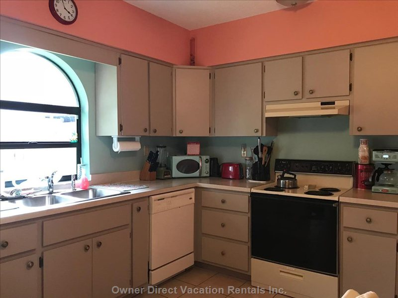 Full Kitchen, Dishwasher, Coffee Pot with Coffee and Creamer, Spices, Pots and Pans and more!