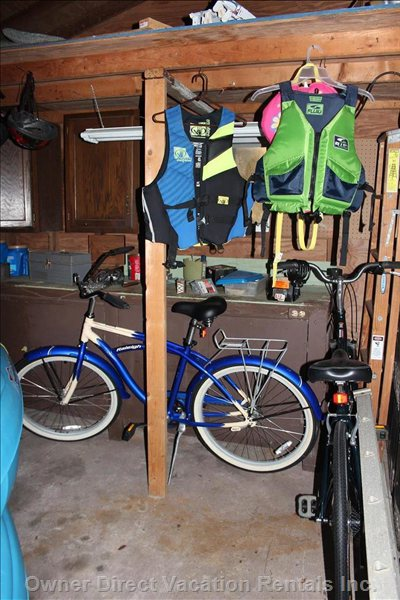 Private Locked Shed Holds Kayaks, Bikes, Gear, Photo Booths and Corn Hole Game.