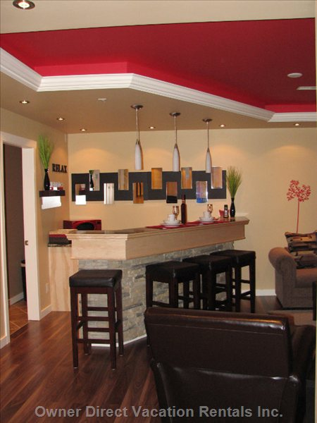 Tray Ceiling - all Throughout with Red Ambient Lighting
