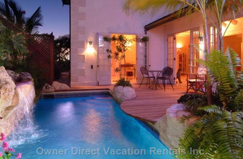 View of the Villa Pool at Twilight - Amazing Sunsets on the West Coast of Barbados