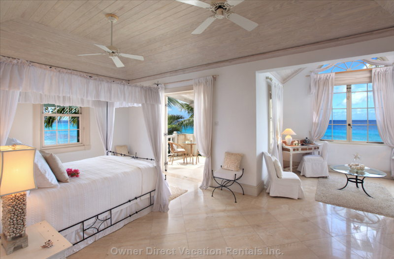 Master Bedroom Suite Upstairs has a Private Patio with Stunning Views of the Ocean