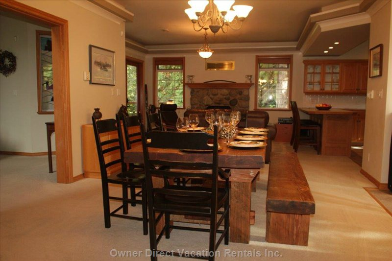 Dining Room with High End Rustic Fir Table