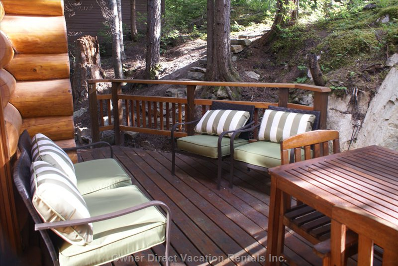 Back Deck in the Warm Months - Bbq and Tables for Summer Dinners and Entertaining.