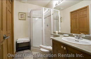Bathroom Downstairs with Private Washer Dryer.
