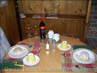 Dining for 2 to 4 - Fully Stocked Kitchen with Big Fridge, Stove, & Dishwasher.
