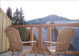 The Master Bedroom has a Private Deck with Amazing Views of Whistler & Blackcomb Mountains and Great Sun Exposure.