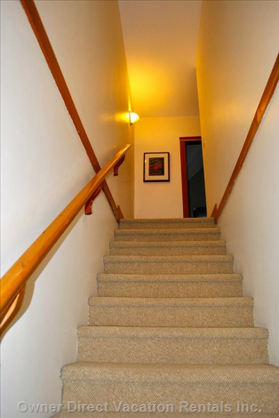 Wide Carpeted Stairwells Quiets the Foot Traffic in the Complex.