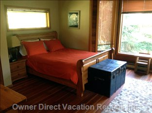 Spacious Master Bedroom on Upper Floor has Views of Blackcomb.
