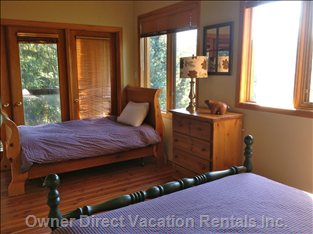 "Upper Floor ""Family Bedroom"" has both a Queen and a Single Bed - Fall Asleep to the Sound of Fitzsimmons Creek Below."