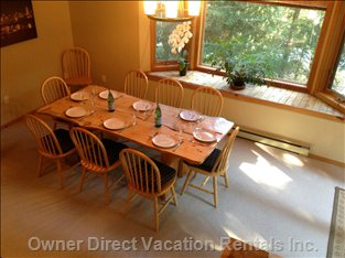 Dining Room Seats everyone for Meals and Games.