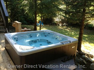 The Wonderful 8 Person Hot Tub in the Private Backyard.