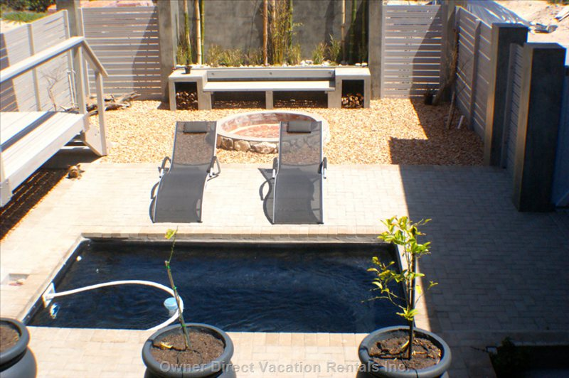Private Splash Pool, Fire Pit and Lounge Chairs and Seating Area