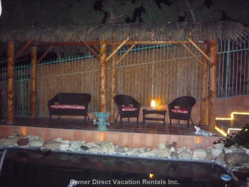 Romantic Tiki Hut at Night