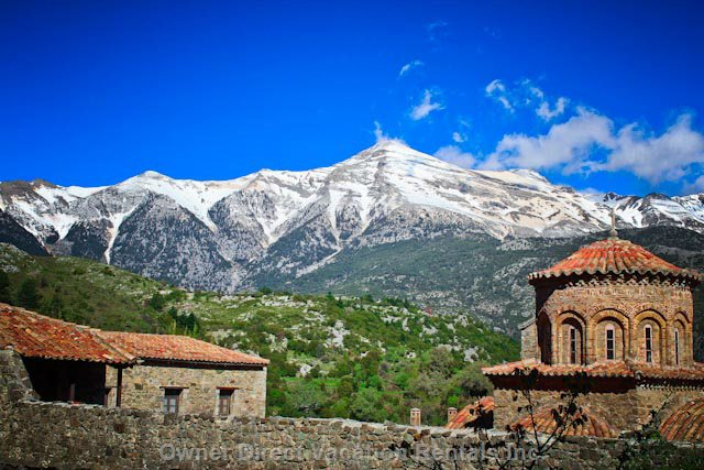 Gola Monastery - one of the many Ancient Sites in the Area with Mount Taygetos in the Background.