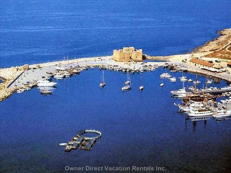 Aerial View of Paphos Harbour and Castle Fort