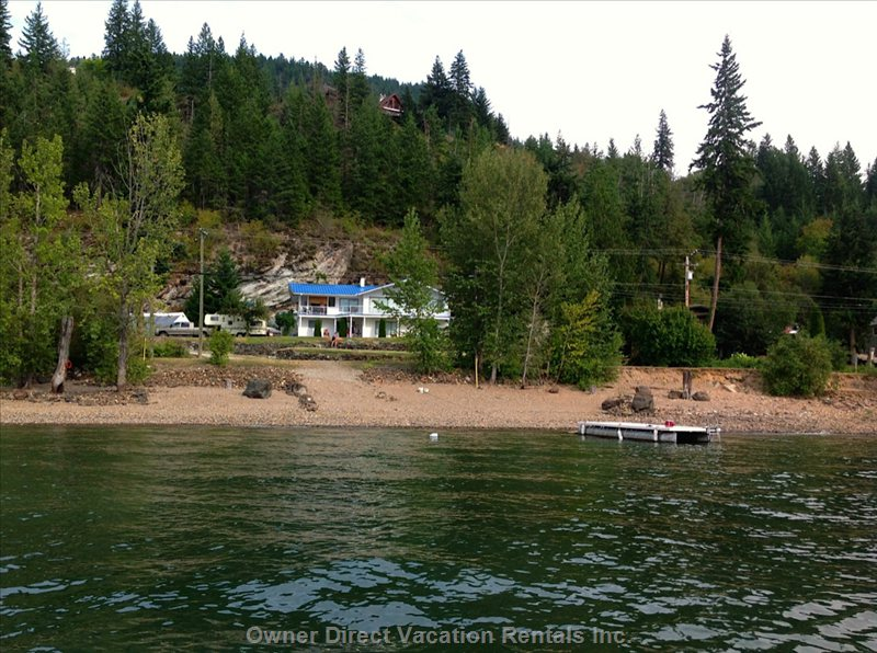 View from Shuswap Lake up to the House